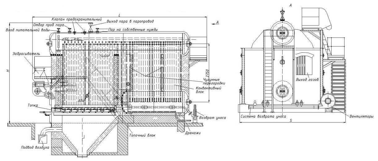 Общий вид котла ДКВр-4-13С